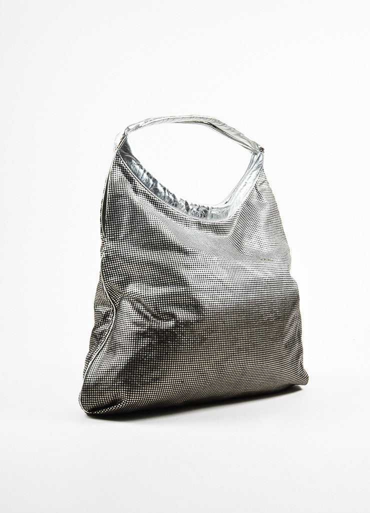 "Chanel Silver and Black 'CC' Logo Gradient Leather Trim ""Hollywood Hobo"" Bag Sideview"