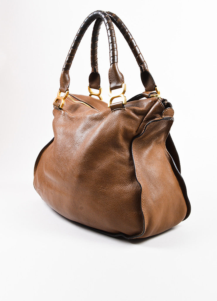 "Chloe Brown and Gold Toned Leather Large Top Handle ""Marcie"" Flap Satchel Bag Sideview"
