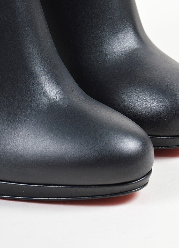 "Black Leather Christian Louboutin ""New Simple Botta"" Tall Heel Boots Detail"