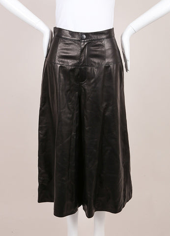 Crippen New With Tags Black Leather Culotte Shorts Frontview