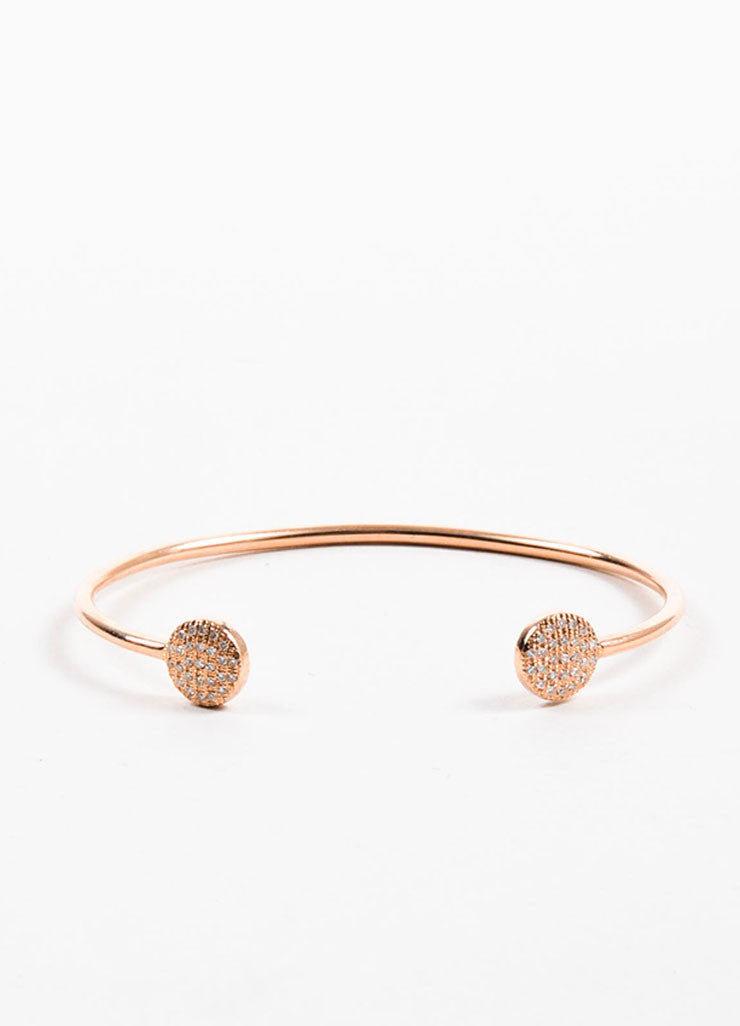 "Dana Rebecca 14K Rose Gold Pave Diamond ""Lauren Joy Medium"" Cuff Bracelet Frontview"