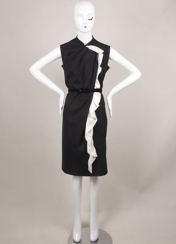 David Szeto Black and White Wool and Silk Belted Sleeveless Shift Dress Frontview