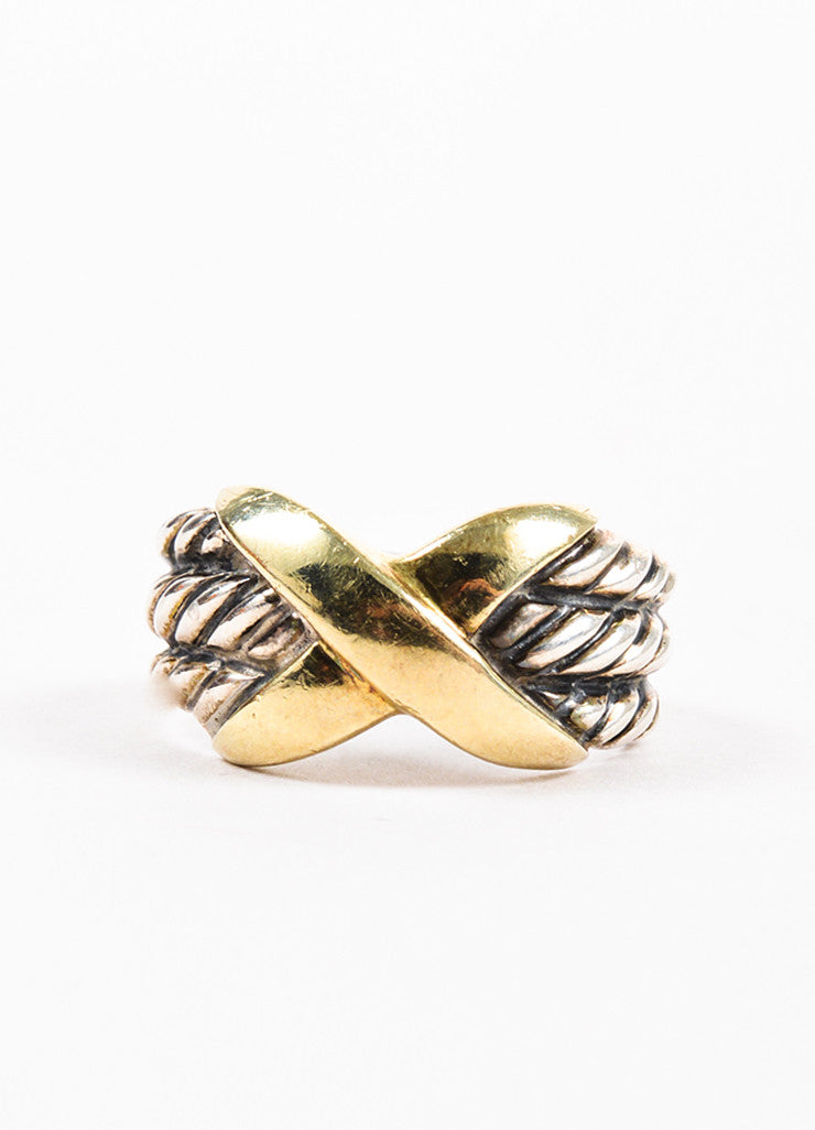 "David Yurman 14K Yellow Gold and Sterling Silver ""Triple Row X Collection"" Ring Frontview"