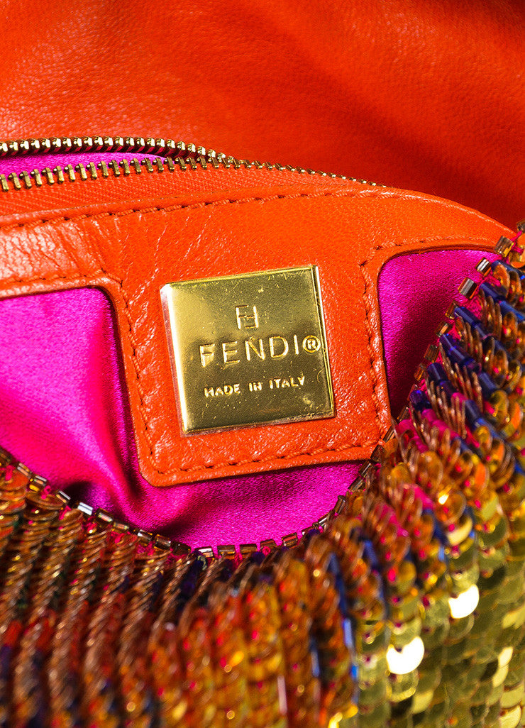 "Fendi Red Gold Tone Leather Sequined Beaded ""Baguette"" Bag Detail 5"