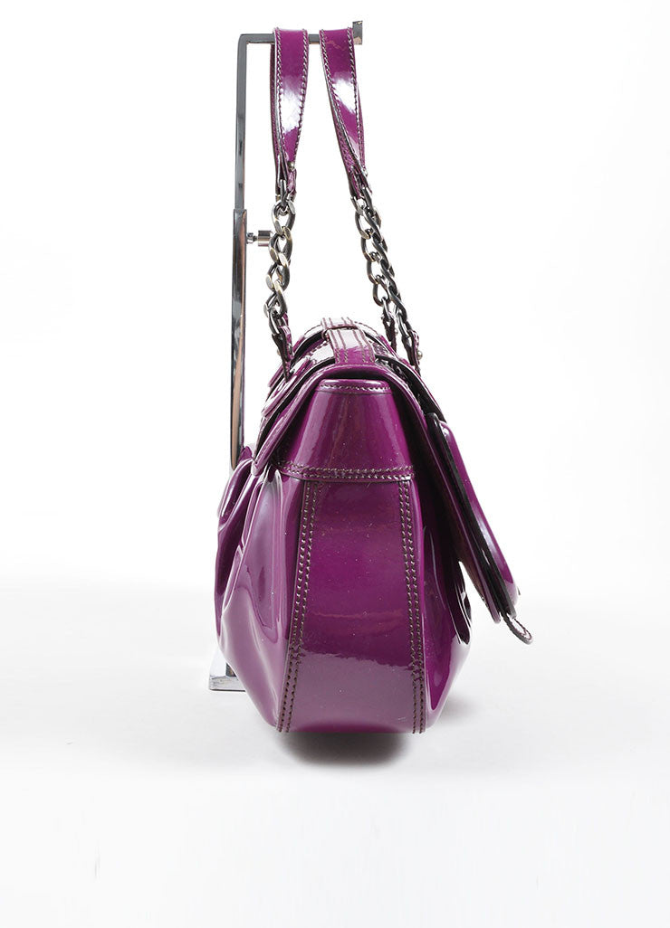 "Fendi Purple Patent Leather ""B"" Double Buckle Flap Bag Sideview"