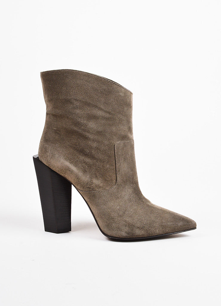 Fendi Grey and Brown Suede High Heel Pointed Western Ankle Boots Sideview