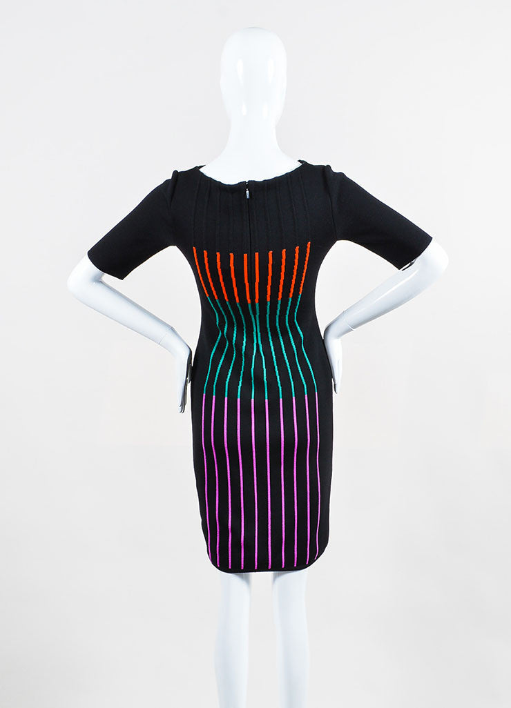 Black and Multicolor Fendi Wool Blend Knit Striped Short Sleeve Sheath Dress Backview