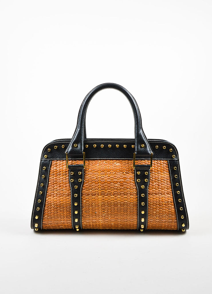 Tan and Gold Fendi Leather and Raffia Studded Top Handle Tote Bag Frontview