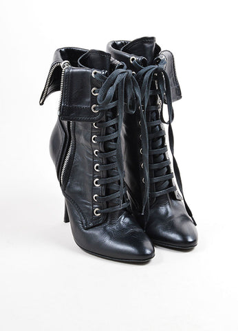 Giuseppe Zanotti for Balmain Black Leather Lace Up Fold Over Heeled Boots Frontview