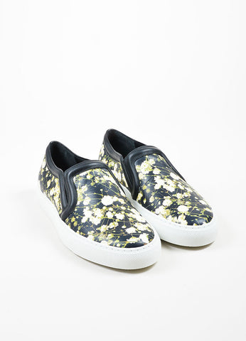 Black and Cream Givenchy Floral Magnolia Leather Slip On Sneakers Frontview
