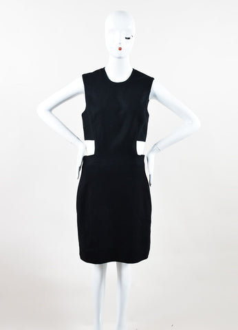 "Black and White Leather and Wool Blend ""Flex Suit"" Dress Front"