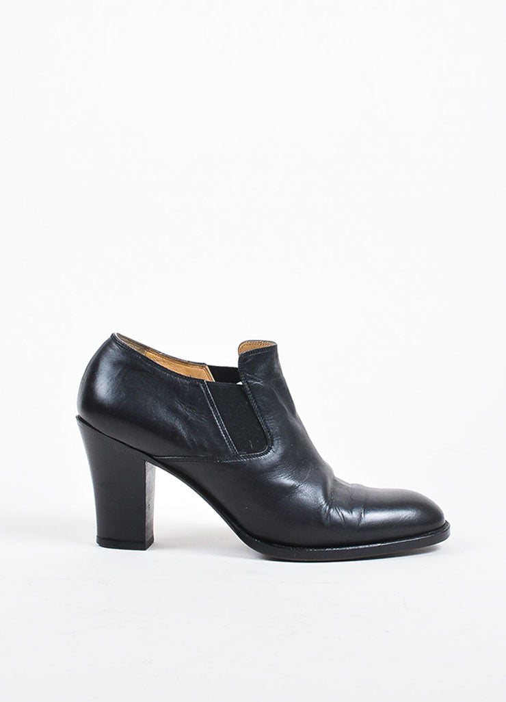 Hermes Black Leather Slip On Stacked Heel Booties Sideview