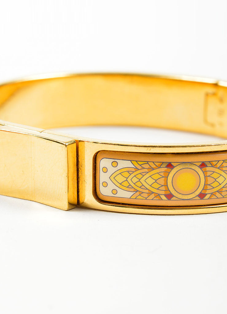"Gold Toned and Yellow Hermes Printed Enamel ""Loquet"" Hinge Bangle Bracelet Detail"
