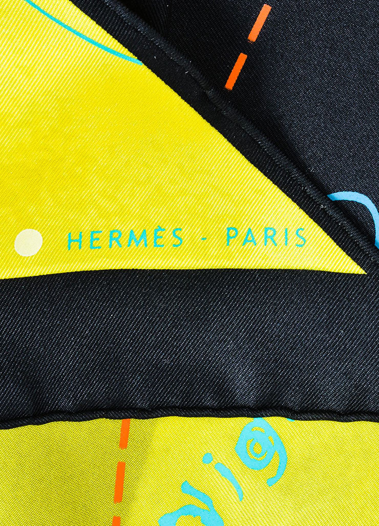 "Yellow and Black Hermes Silk Map Print ""Le Monde Est Un Fleuve"" Triangle Scarf Brand"