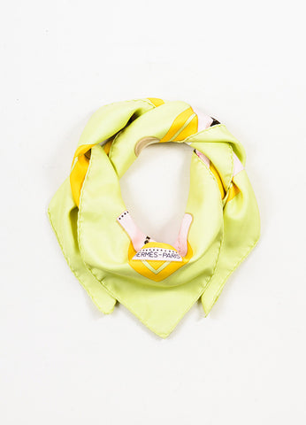 "Hermes Pink, Yellow, and Green Silk Polo Tournament ""Cup Palm Beach"" Print 90cm Scarf Frontview"