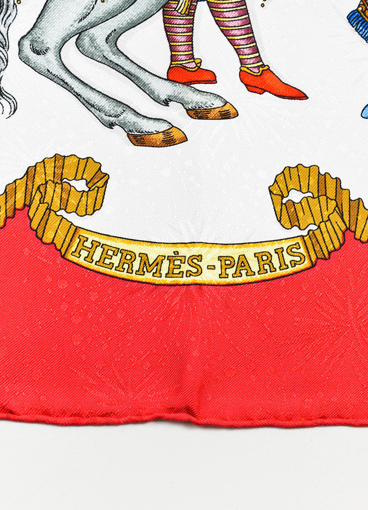 "Hermes Red, Gold, and Blue Silk ""Les Fetes Du Roi Soleil"" 90cm Scarf Brand"