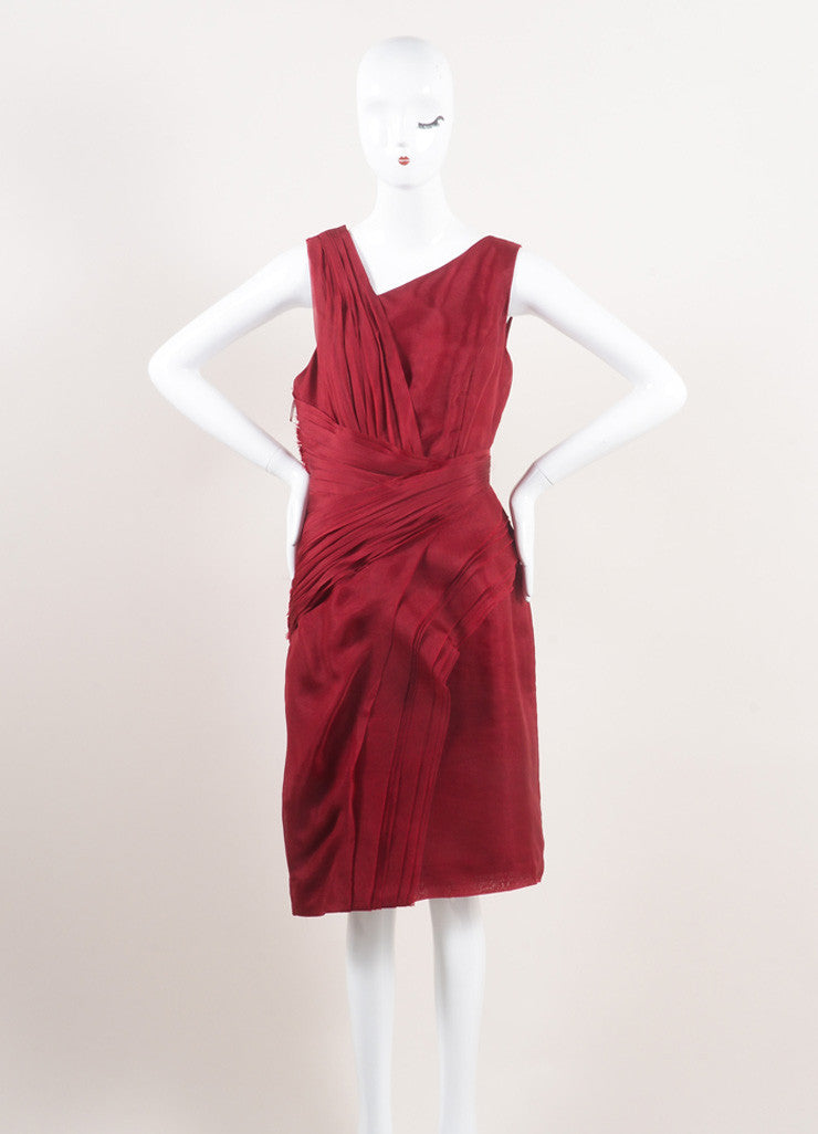 J. Mendel New With Tags Red Silk Pleated Sleeveless Sheath Dress Frontview