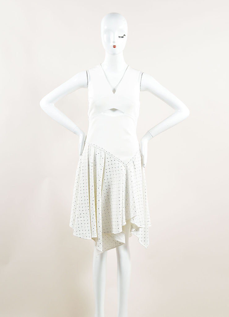 Jay Ahr White Eyelet Studs Asymmetrical Cut Out Sleeveless Dress Frontview