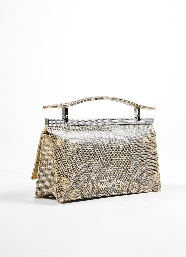 Beige and Black Judith Leiber Leather Reptile Print Rhinestone Embellished Mini Bag Backview