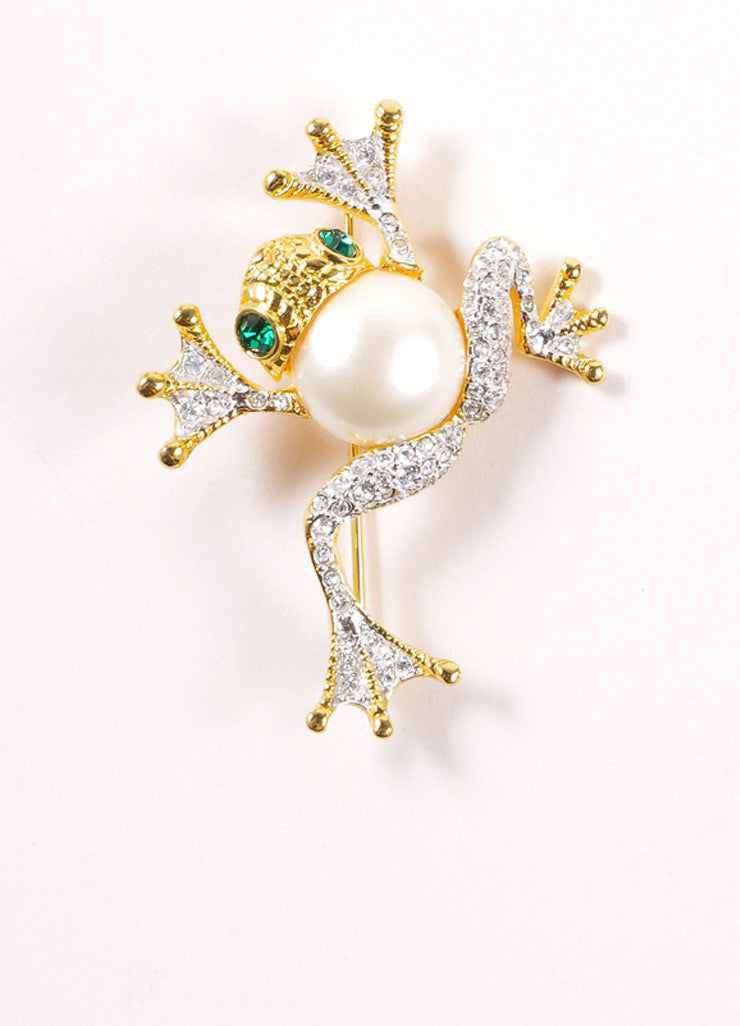 Kenneth Jay Lane Gold and Silver Toned Faux Pearl Rhinestone Frog Brooch Frontview