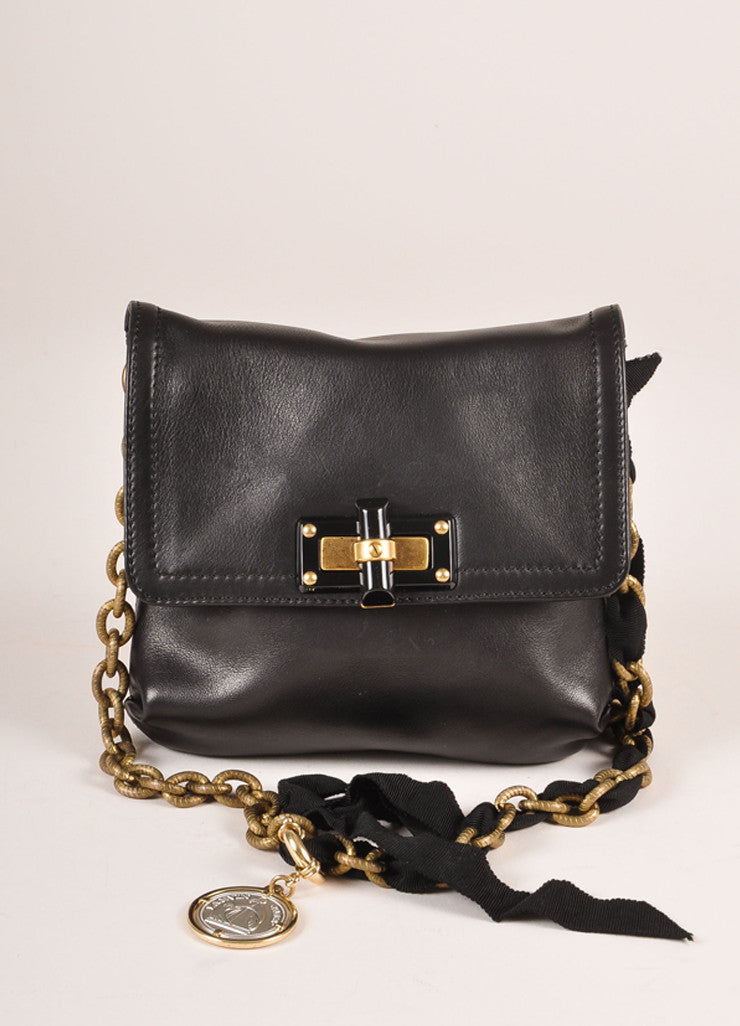 "Lanvin Black Leather ""Happy Mini Pop"" Bag Frontview"