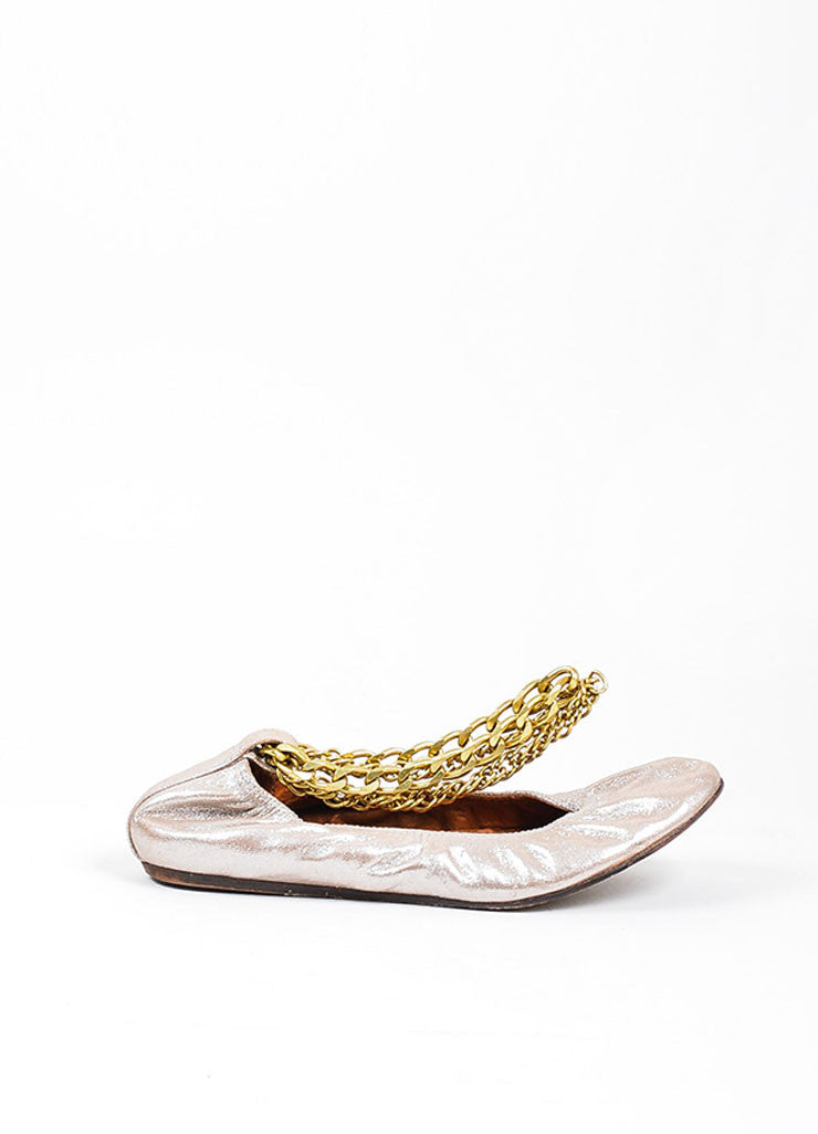 Metallic Platinum Lanvin Leather Gold Chain Ballet Flat Side