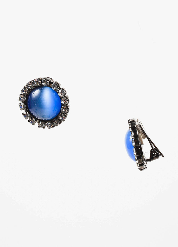 Lawrence Vrba Blue Cabochon Rhinestone Circular Clip On Earrings Sideview