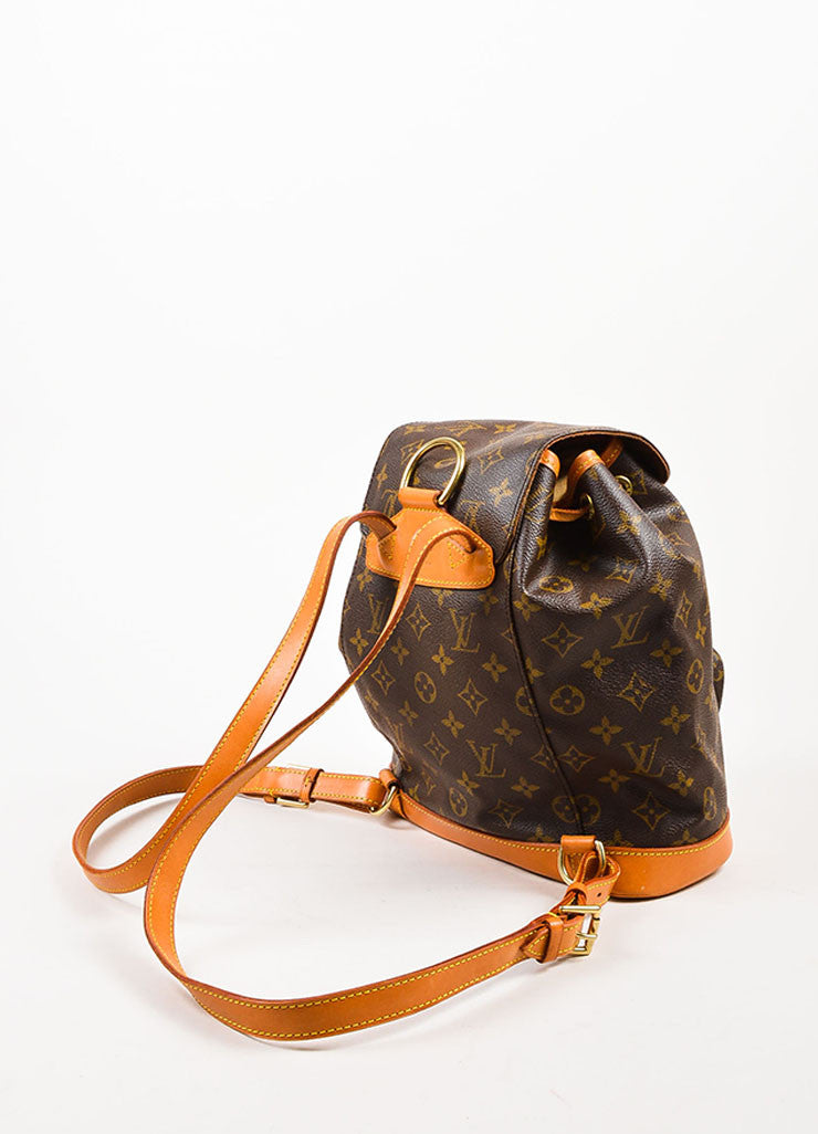 "Louis Vuitton Brown Canvas Monogram Drawstring ""Montsouris MM"" Backpack Backview"