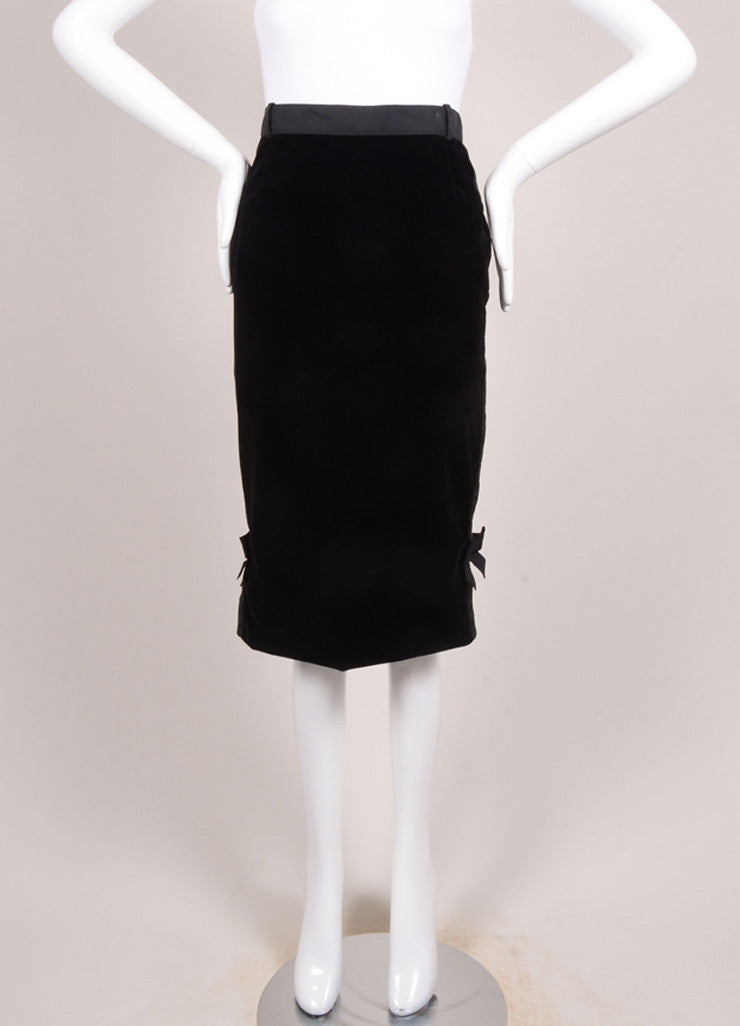 Louis Vuitton Black Velvet Bow Ribbon Trim Pencil Skirt Frontview