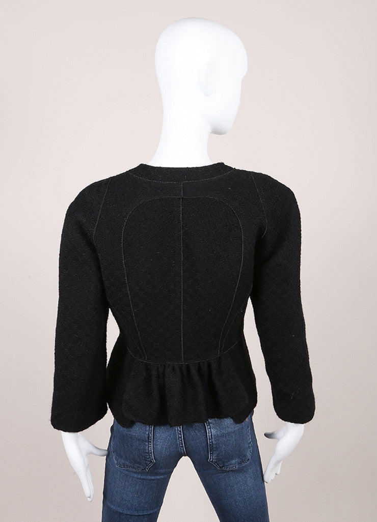 Louis Vuitton Black Wool Woven Textured Button Down Peplum Jacket Backview