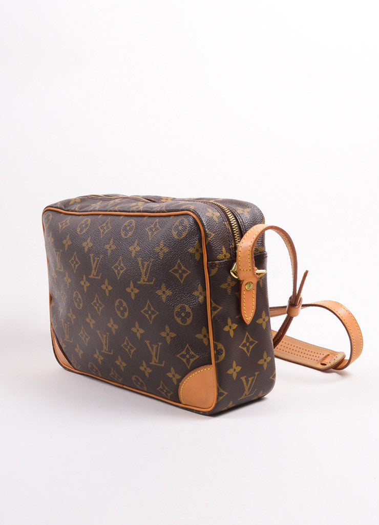 "Louis Vuitton Brown Coated Canvas Leather Monogram ""Trocadero 27"" Cross Body Bag Sideview"