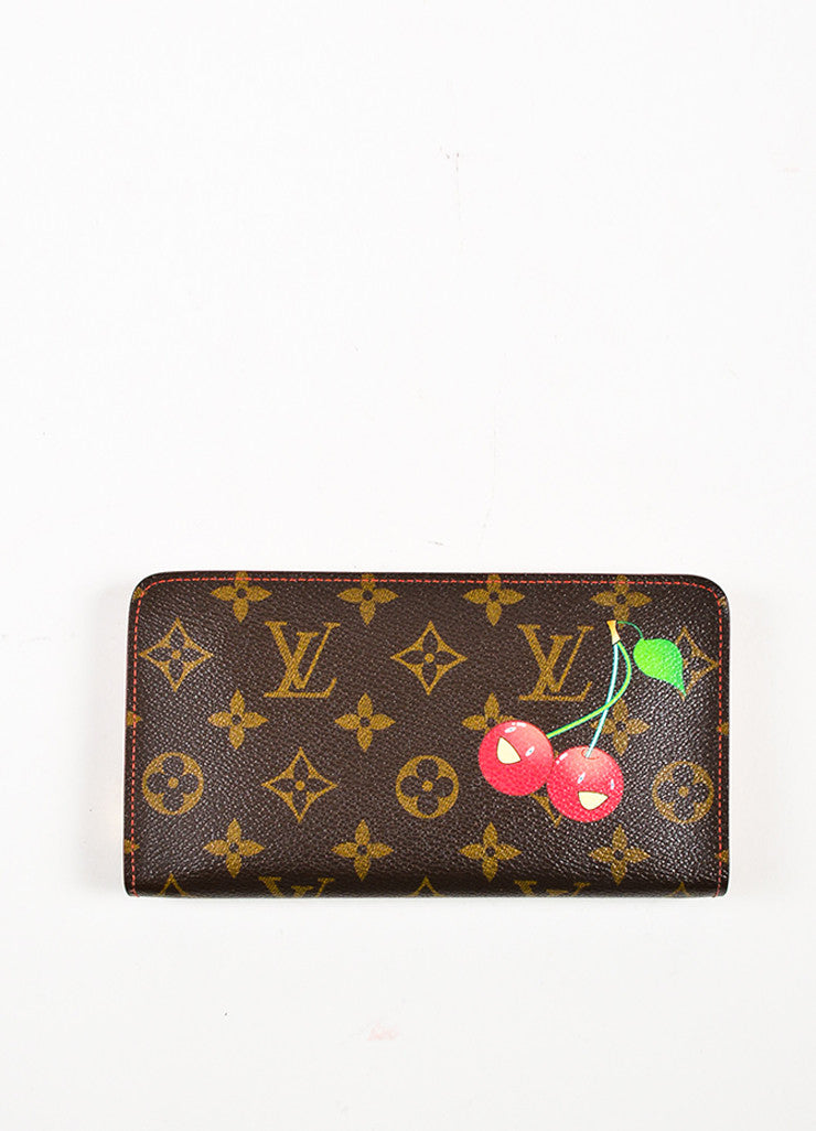 "Louis Vuitton Brown Monogram Coated Canvas ""Cerises"" Collection Zip Wallet Frontview"