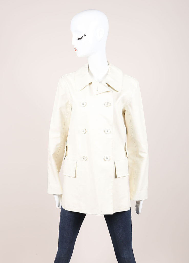Louis Vuitton Cream Double Breasted Short Cotton Trench Coat Frontview