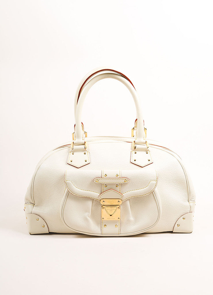 "Louis Vuitton Cream and Gold Toned Suhali Leather Studded ""Le Superbe"" Satchel Bag Frontview"