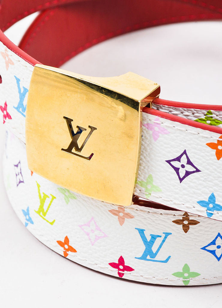 Louis Vuitton White Monogram Multicolore 30mm Reversible Belt Detail