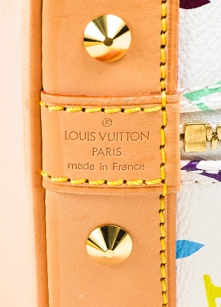 "Louis Vuitton White ""Multicolore Monogram Alma"" Canvas & Leather Trim Bag Brand"