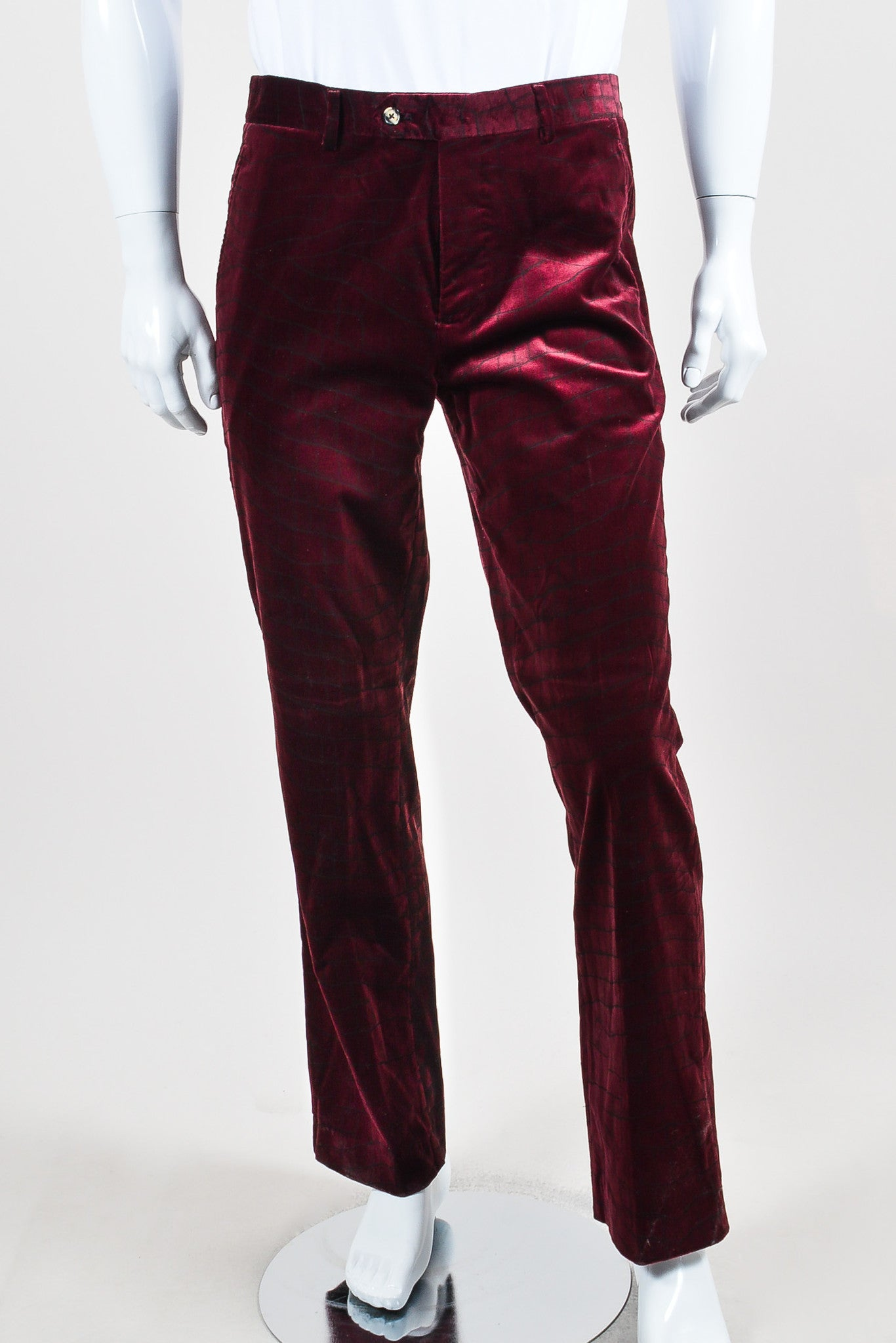 MEN'S Maroon Roberto Cavalli Velvet Alligator Trousers Front