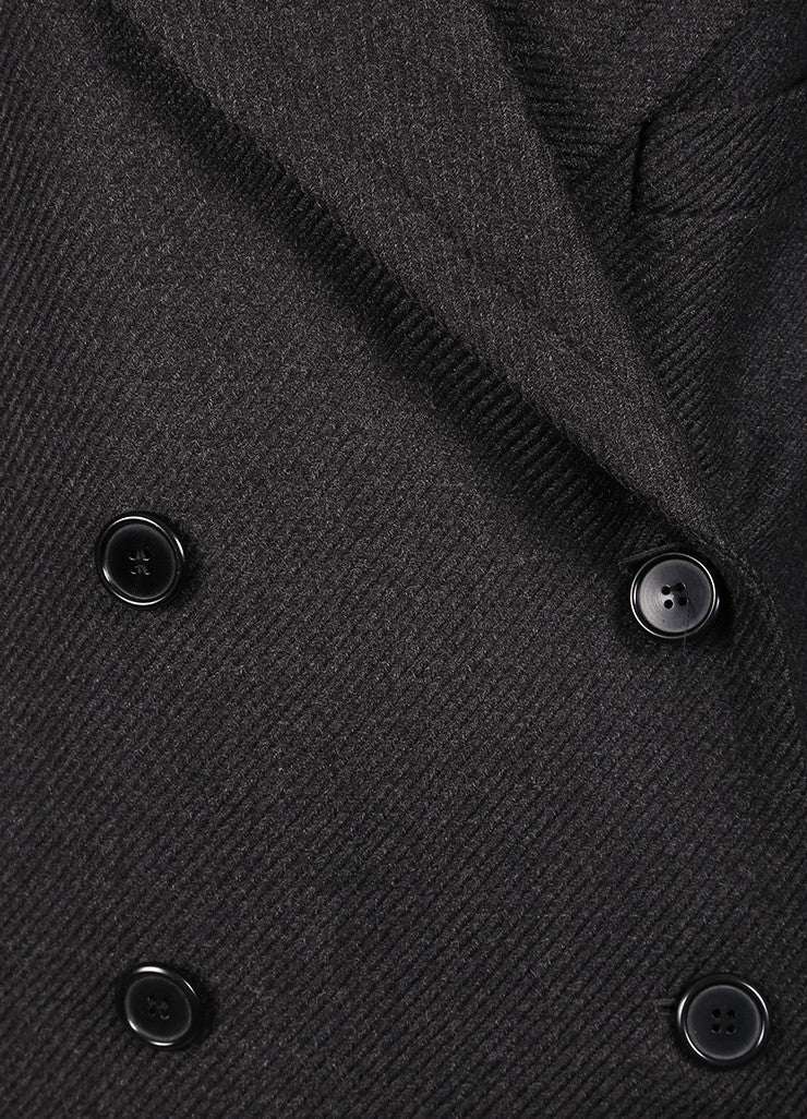 Maison Martin Margiela Dark Grey Wool Tweed Double Breasted Long Coat Detail