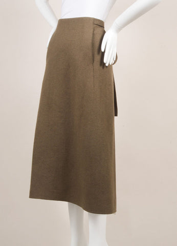 Marc Jacobs Army Green Wool Wrap Belted A-Line Midi Skirt Sideview