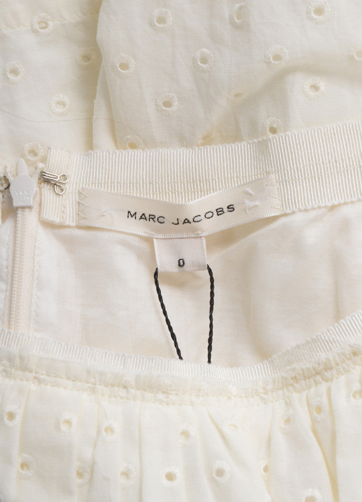 Marc Jacobs New With Tags Cream Cotton Eyelet Knee Length Yoked Skirt Brand