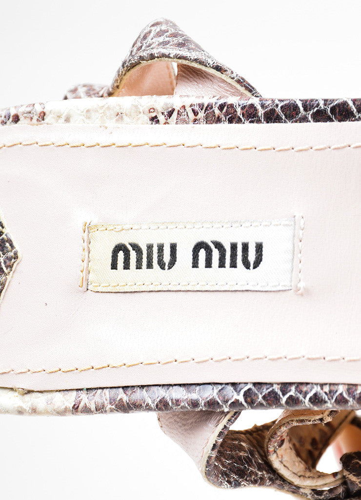 Miu Miu Cream and Brown Leather Wooden Wedge Sandals Brand