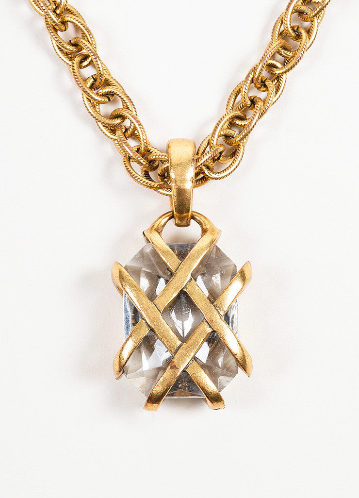 Antiqued Gold Toned Oscar de la Renta Rhinestone Gem Caged Pendant Necklace Detail 2