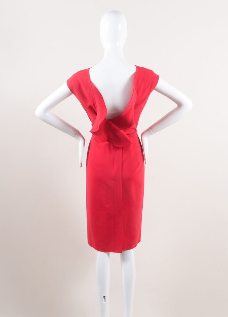 Oscar de la Renta New With Tags Red Stitched Side Ruffle Back Wool Sheath Dress Backview