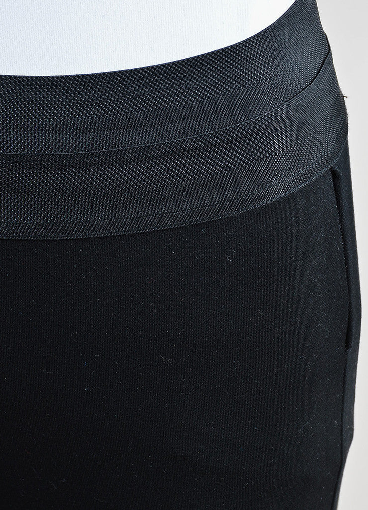 Black Paige Stretch Knit Leather Paneled Skinny Legging Pants Detail