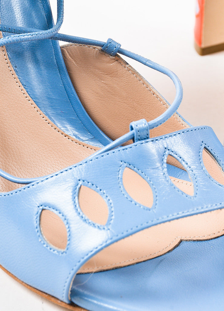 "Paula Cademartori Blue and Pink Leather Suede ""Lotus"" Sandals Detail"