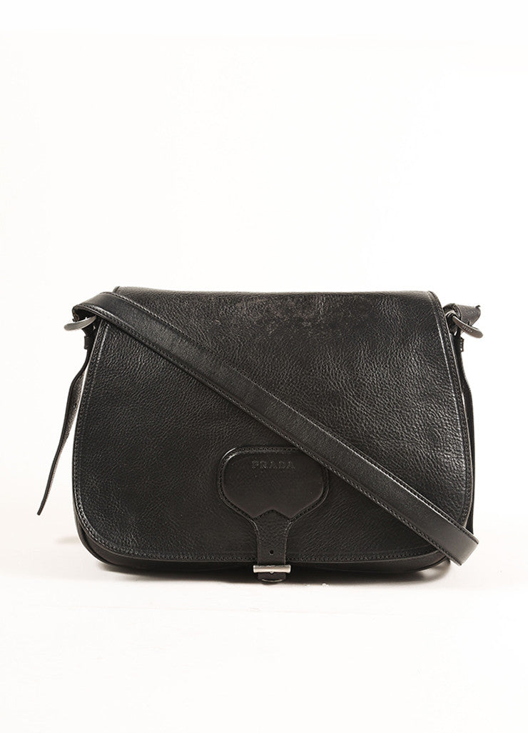 Prada Black Leather Saddle Bag Frontview