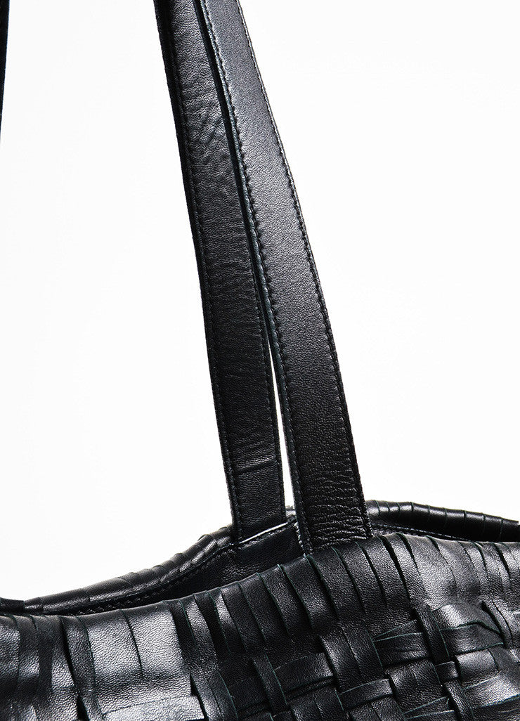 Prada Black Nappa Leather Woven Shopper Tote Bag Detail 2