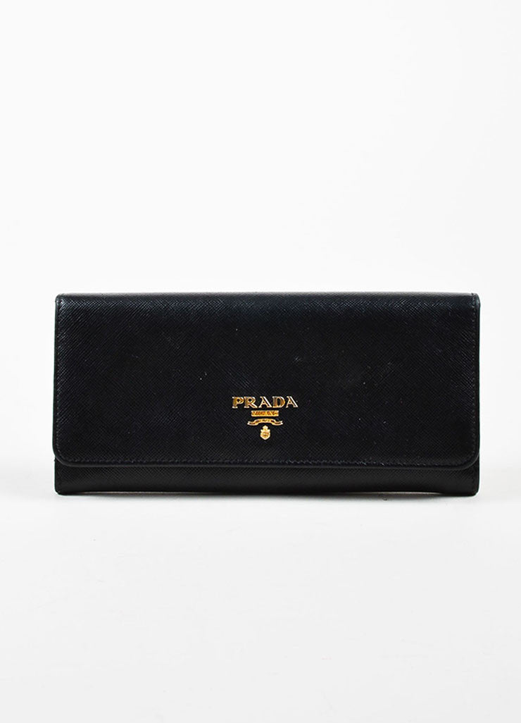 Prada Black Saffiano Leather Gold Toned Metal Trifold Continental Wallet Frontview
