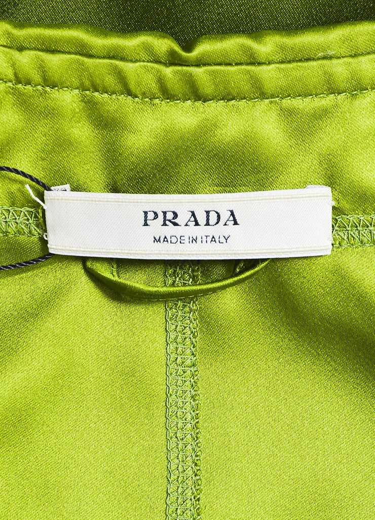 Prada Green and Grey Silk Belted Evening Coat Brand