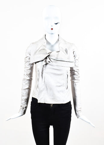 Rick Owens Taupe Metallic Zip Front Draped Leather Jacket Frontview 2